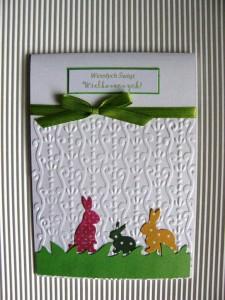 Kartka handmade na Wielkanoc z zajączkami