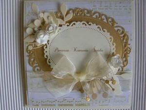 Kartka handmade z życzeniami na pierwszą komunię - brązowo - biała