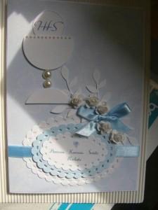 Kartka handmade z życzeniami na pierwszą komunię z kielichem