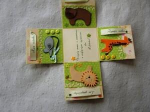 Zwierzątka - Pudełko ręcznie robione z życzeniami z okazji narodzin
