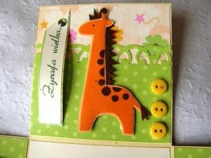 Żyrafa - Pudełko ręcznie robione z życzeniami